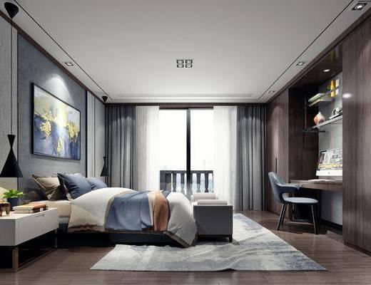 卧室, 双人床, 床尾凳, 书桌, 单人椅, 床头柜, 吊灯, 装饰画, 挂画, 装饰品, 陈设品, 书籍, 现代