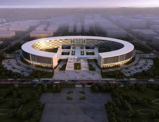 大厦建筑, 现代, 夜景, 办公楼
