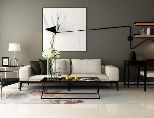 多人沙发, 茶几, 边几, 台灯, 装饰画, 挂画, 壁灯, 书桌, 单人椅, 置物架, 书籍, 摆件, 装饰品, 陈设品, 现代