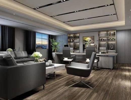办公室, 现代, 沙发, 桌子, 办公椅, 办公桌, 茶几, 书柜, 置物柜, 摆件, 陈设品, 书