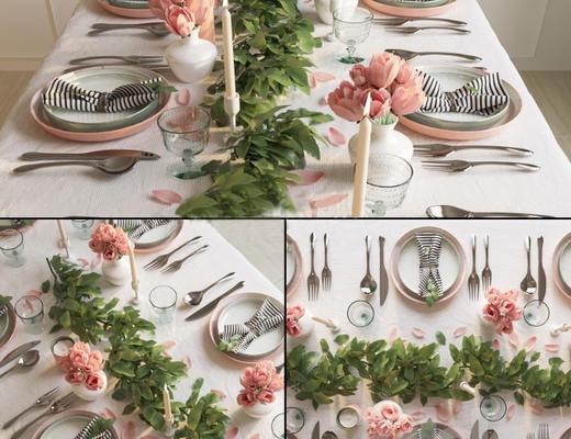 欧式简约, 鲜花, 餐具组合, 植物盆栽