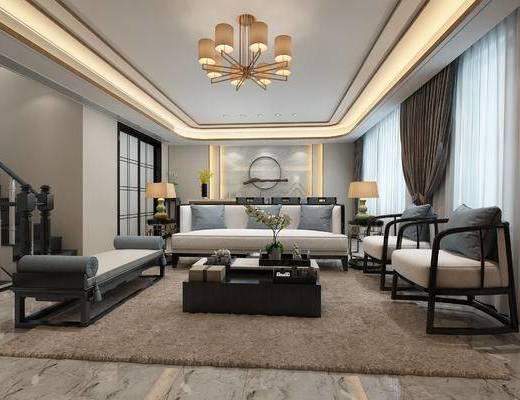 客厅, 中式客厅, 中式沙发, 茶几, 中式吊灯