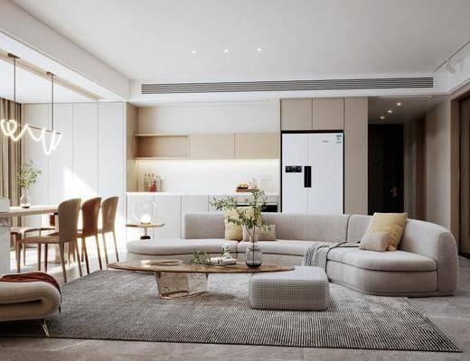 现代客餐厅, 沙发, 茶几, 餐桌椅, 吊灯