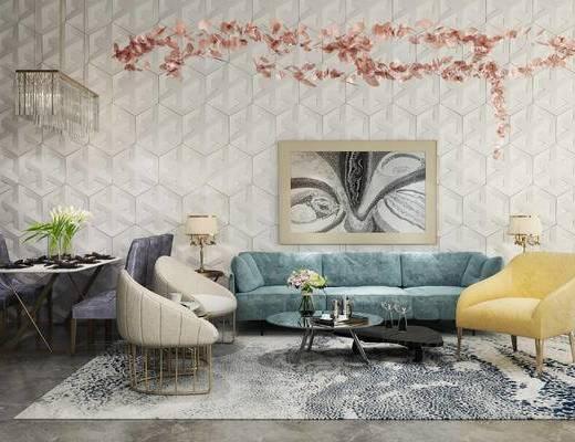 现代, 沙发, 沙发组合, 茶几, 吊灯, 单椅