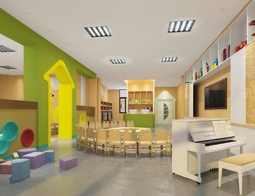 幼儿园教室, 桌子, 单人椅, 钢琴, 凳子, 宿舍床, 现代