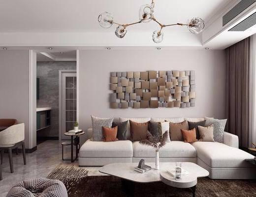 茶几, 餐桌, 吊灯, 客餐厅, 电视柜, 墙饰