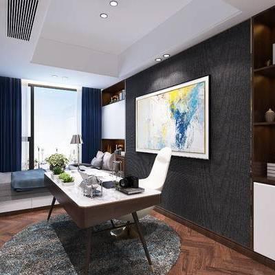 书房, 卧室, 书桌椅, 桌子, 椅子, 装饰画