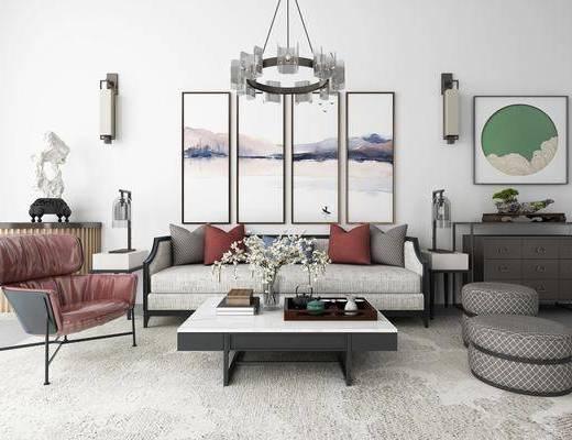 沙发组合, 多人沙发, 双人沙发, 茶几, 单人椅, 脚踏沙发, 边几, 边柜, 装饰画, 挂画, 壁灯, 吊灯, 风景画, 组合画, 新中式