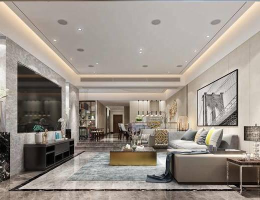 现代, 轻奢, 客厅