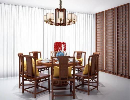 桌椅组合, 新中式桌椅组合, 圆桌, 单椅, 椅子, 餐具, 摆件, 吊灯, 花瓶, 花卉, 隔断, 新中式