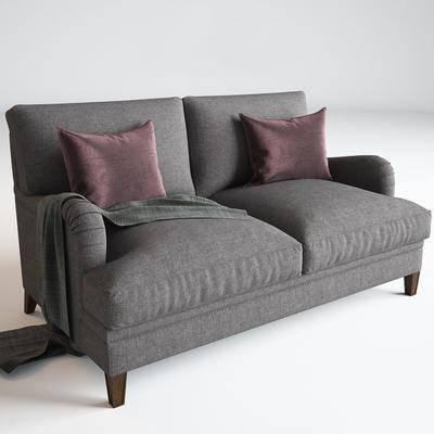 双人沙发, 抱枕, 布艺, 现代