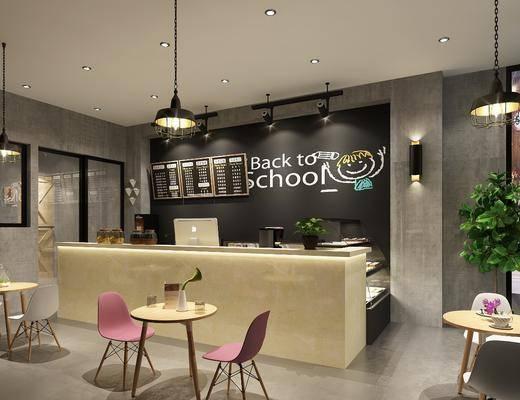前台, 装饰柜, 餐桌, 餐椅, 单人椅, 壁灯, 摆件, 吊灯, 现代