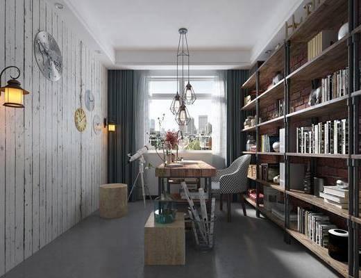 书房, 书桌, 桌子, 椅子, 单椅, 书架, 书籍, 书本, 墙饰, 吊灯, 摆件, 装饰品, 工业风