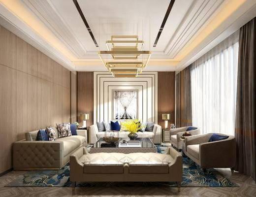 客厅, 多人沙发, 茶几, 单人沙发, 边几, 台灯, 美式