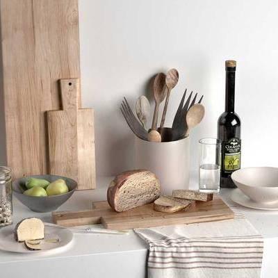 餐具, 食物, 酒, 面包, 现代