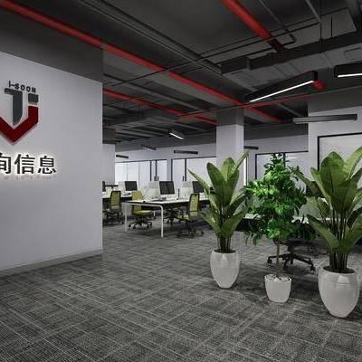 办公室, 办公区, 工业风办公室, 办公桌, 单椅, 椅子, 植物, 盆栽, 工业风