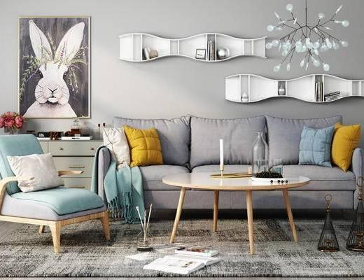 沙发, 茶几, 边柜, 置物架, 装饰画, 吊灯, 北欧沙发, 烛台, 装饰品, 摆件