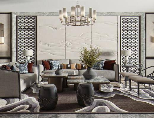 多人沙发, 单人椅, 茶几, 矮凳, 桌花, 饰品摆件, 壁灯, 吊灯