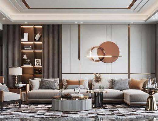 现代, 客厅, 多人沙发, 休闲椅, 边几, 墙饰, 摆件