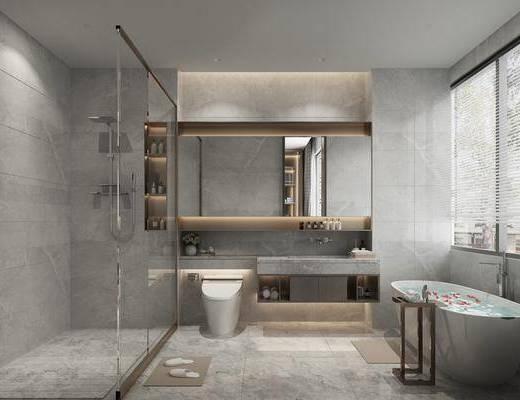 卫浴, 洗浴组合, 马桶, 浴缸, 壁镜