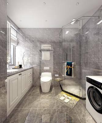 衛生間, 洗手臺組合, 馬桶, 花灑, 現代