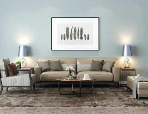 沙发组合, 装饰画, 单椅, 台灯, 茶几组合