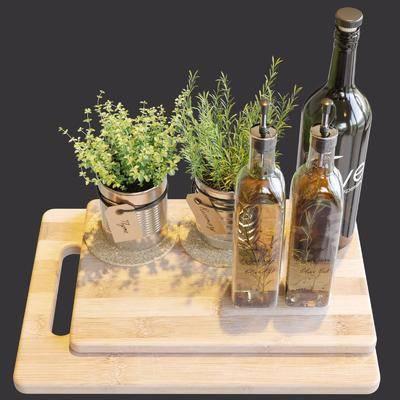 食物, 酒瓶, 酒杯, 植物, 盆栽, 菜板, 现代