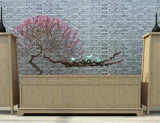 电视柜, 矮柜, 置物柜, 装饰品, 干枝组合, 植物, 中式