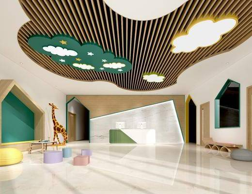 幼儿园大厅, 桌椅组合, 吸顶灯组合, 现代