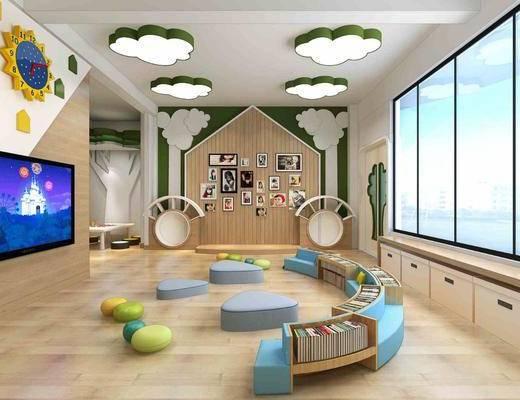 儿童教室, 活动室, 幼儿园, 书柜, 书籍, 照片墙, 现代