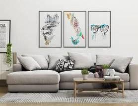 沙发组合, 北欧沙发, 现代沙发, 沙发茶几组合, 装饰画, 茶几