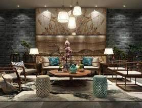 新中式, 沙发茶几组合, 灯具组合, 陈设品组合