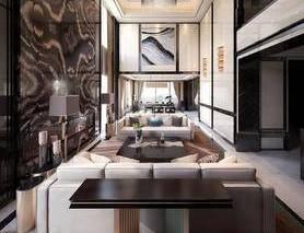中式客厅, 跃层, 沙发茶几组合, 壁灯, 台灯