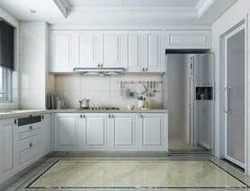 现代, 厨房, 百叶窗, 冰箱, 橱柜, 日景, 写实, 玻璃门