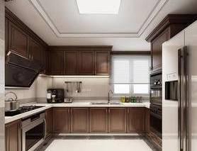 厨房, 美式厨房, 橱柜, 冰箱, 厨具, 烤箱