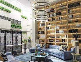 法式客厅, 沙发茶几组合, 台灯, 吊灯, 植物墙, 书架, 装饰架