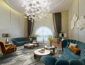 法式客厅, 沙发茶几组合, 吊灯, 壁挂, 台灯