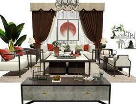 沙发组合, 沙发茶几组合, 窗帘, 边柜, 茶几