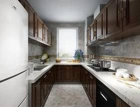 厨房, 厨具, 橱柜, 餐具, 冰箱