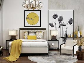 床, 吊灯, 单人沙发, 床头柜, 装饰画, 台灯