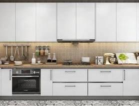 现代, 厨房, 橱柜, 家用电器, 厨具