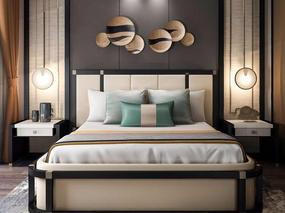 新中式, 新中式双人床, 双人床组合, 双人床, 床头柜