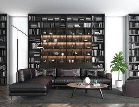 现代简约, 沙发茶几组合, 置物架, 陈设品组合, 植物盆栽