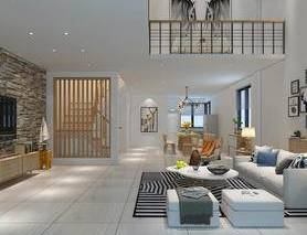 loft, 现代, 客厅, 餐厅, 挂画, 北欧