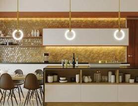 厨房, 餐桌椅, 桌椅, 吊灯, 橱柜, 餐具