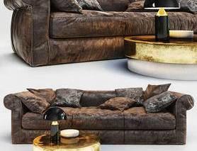 沙发茶几组合, 沙发组合, 多人沙发, 皮艺沙发, 现代茶几