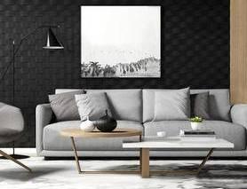 北欧简约, 沙发茶几组合, 落地灯, 植物盆栽, 陈设品