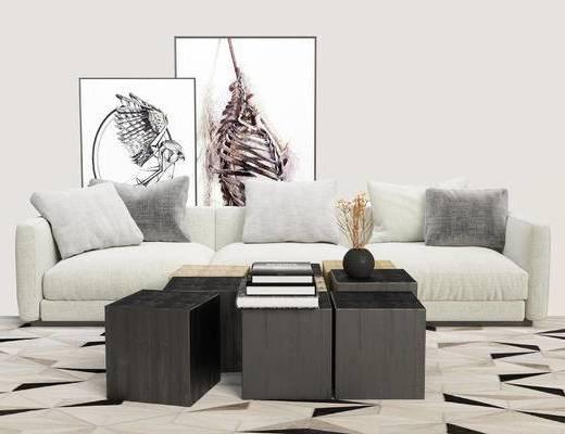 现代沙发, 沙发组合, 多人沙发, 茶几