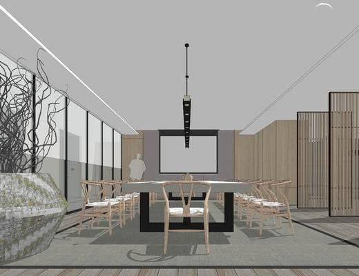 办公室, 中式, 禅意, 桌椅组合, 吊灯