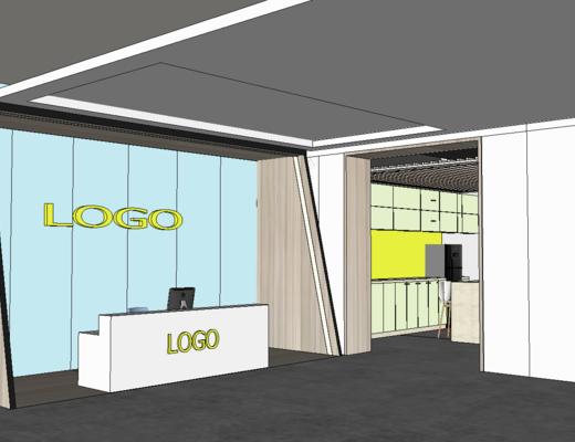 辦公室, 現代, 室內, 接待區, 前臺, 桌椅組合